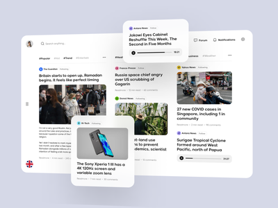 Newie - News Media Dashboard magazine voice entertainment portal media forum trend hashtag topic news app dashboard news manage app clean card simple design ux ui