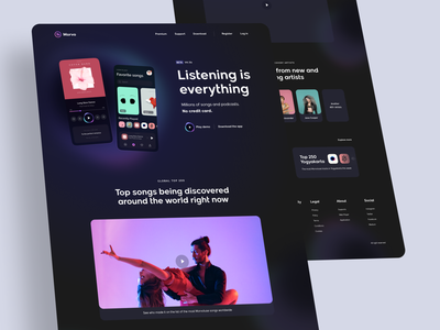 Morvo - Music Player Website track discover listening songs playlist player music app dark glow gradient clean card landing page simple homepage website design ux ui