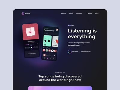 Morvo - Music Player Website track discover listening songs playlist player music app dark glow gradient clean card landing page simple homepage website design ux ui