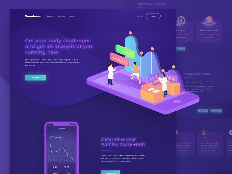 Wonderun Landing page - The Running Apps