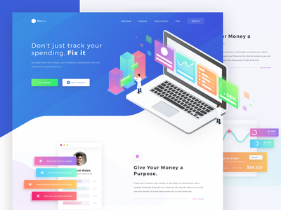 Fixtoon Landing Page Exploration money website ui manage plan card landing page illustration homepage business simple white