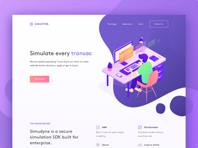 Simudyne Landing Page Concept white website ui simple plan money manage landing page illustration homepage work business