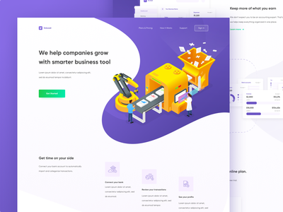 Ezboost Landing Page Exploration work white website ui simple plan money manage landing page illustration homepage business