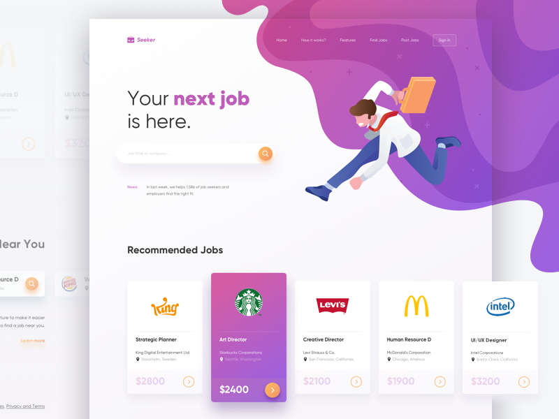 Seeker Landing Page Concept ui find isometric landing page homepage website gradient hire job illustration web
