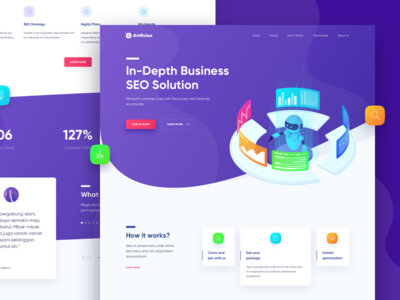 Artificioo Landing Page Concept machine website ux ui landing page robot isometric illustration homepage gradient seo color
