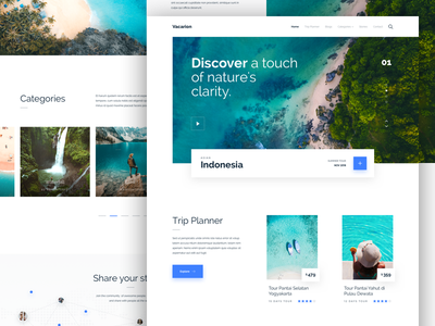 Vacarion - Trip Planner Landing Page Concept trip planner planner vacation travel trip clean typography user interfaces simple design ux website landing page homepage ui