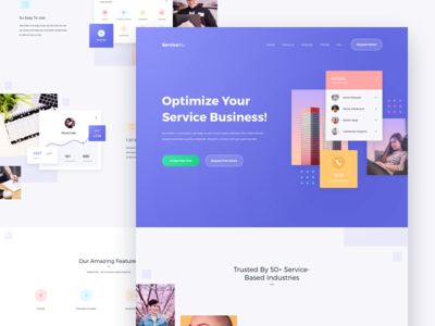 Serviceku Landing Page Concept plan money user interfaces card finance business home service home manage web simple gradient design website ux landing page homepage ui service