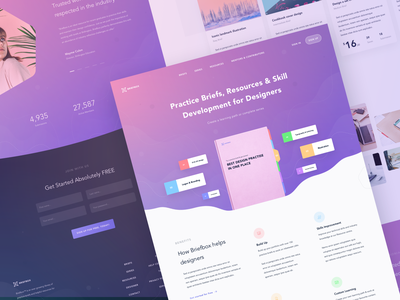 Briefbox Landing Page Exploration practice skills resources brieft online book build learning learn skill typography manage user interfaces gradient design ux website landing page homepage ui