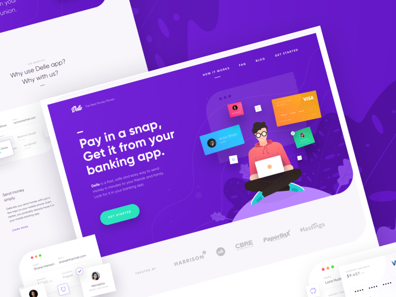 Delle, Pay in a snap - Landing Page Exploration credit management payment banking user experience plan money card business web manage simple user interfaces gradient illustration ux website landing page homepage ui
