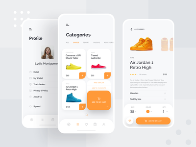 Ece - Shopping App Concept clothing application fashion brands shop mobile cart card gallery white clean orange product shoes ecommerce app simple design ux ui