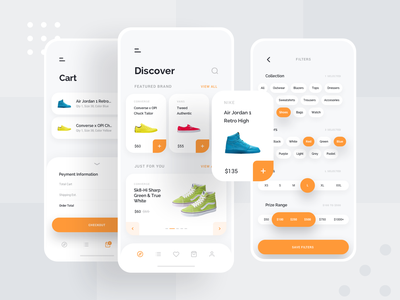 Ece - Shopping App Concept Part 2 ui ux design simple app ecommerce shoes product orange clean white gallery card cart mobile shop brands fashion application clothing
