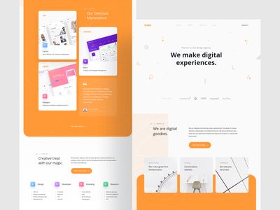 Plasma Digital Agency - Landing Page form mobile layout portfolio white clean orange creative digital agency studio card branding user interfaces simple website ux landing page homepage ui