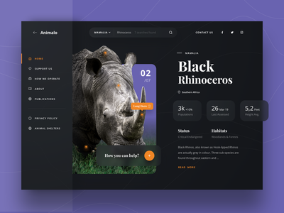 Animalo Dashboard - Animal Conservation website dashboard design dashboard ui animals support status population shelter purple pet mamalia rhinoceros donation donate conservation charity dashboard ux ui animal