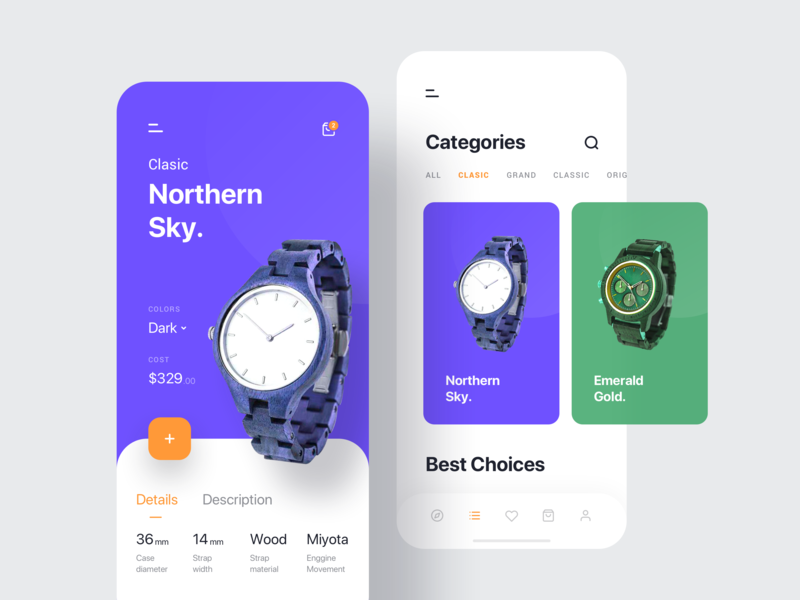 Elgrave Ecommerce App Design category clean ui clean fashion app fashion brand product gallery mobile ecommerce shop purple watch app ui app card simple design ux ui