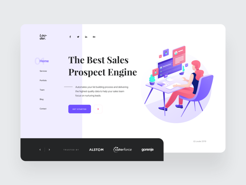 Louder - Sales Prospecting Engine web red purple header management profiles contacts simple isometric clean business manage illustration gradient design landing page homepage website ux ui