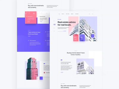 Estabib - Real Estate Landing Page property home layout clean purple family buy rent house real estate user interfaces card simple gradient design landing page homepage website ux ui