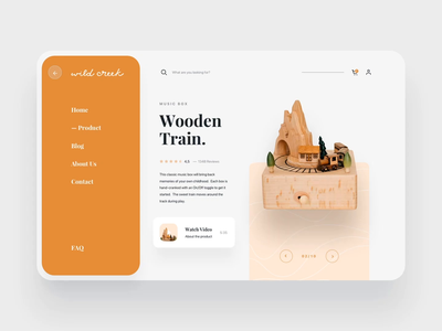 Wildcreek Header Exploration interaction design interaction motion design motion craftwork craft dashboard wooden wood product orange goods toys manage simple design homepage website ux ui
