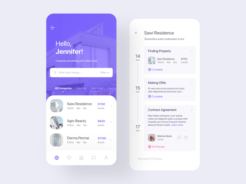 Homie App for Real Estate design ux ui simple mobile residence real estate home app mobile ui house purple process timeline user interface find finding agent clean modern