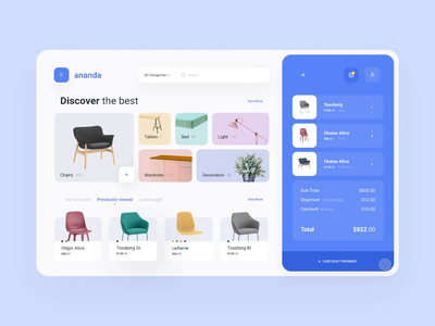 ananda  - Dashboard interaction motion discover buy ecommerce purple menu shop checkout images chair dashboard user interfaces card simple design homepage website ux ui