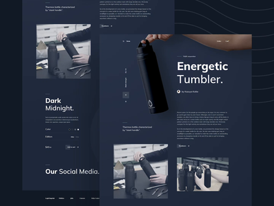 The Energetic Tumbler - Landing Page products simple shop bottle sell buy paralax landing page dark mode dark ui interaction motion tumbler product dark user interfaces homepage website ux ui