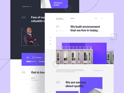 Arczee - Architect Landing Page house interaction animation motion design motion purple portfolio gallery image architecture architect clean user interfaces simple design landing page homepage website ux ui