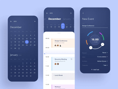 Taski - Calendar App motion design animation motion task management event time timeline agenda calendar card app simple design user interfaces gradient ux ui