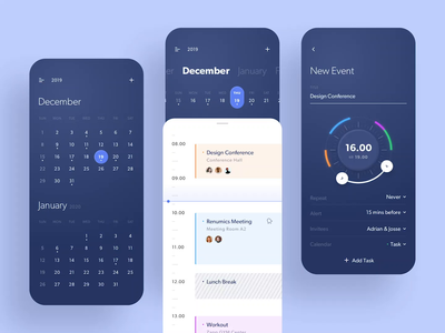 Taski - Calendar App motion design animation motion task management event time timeline agenda calendar card app simple design user interfaces gradient ux ui
