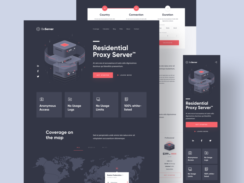 BeServer - Landing Page red isometric hosting access dark database internet proxy server card clean illustration user interfaces simple landing page design homepage website ux ui