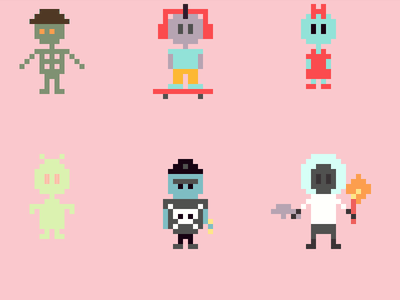 After School Mayhem Pixel Characters 16-bit 8-bit colorful pixel art after school mayhem css pixel