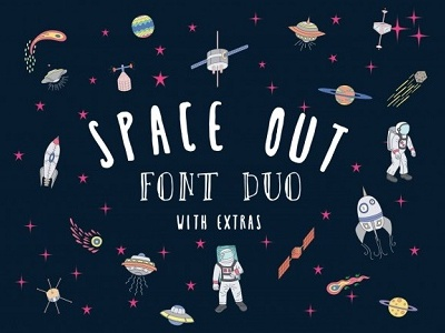 Space Out spaceout lettering typeface fun playful handwritten fonts