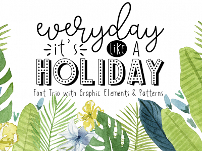 HITS (Holiday Package) handwritten handlettering handmade typography playful cute summer beach holiday script sans fonts