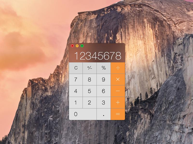 Apple OS X Yosemite Calculator (PSD) calculator osx mac rebound apple yosemite app design interface