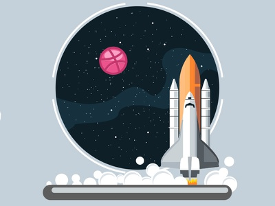 Star Space dribbble starship space