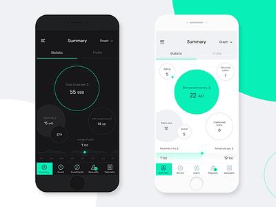 Concept of online platform of p2p lending. ux ui flat design mobile concept v-jet group
