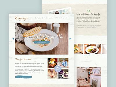 Katherine's Cafe Marketing Website restaurant marketing site ux design ui design cafe food layout web design