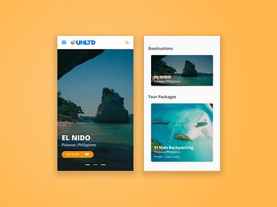 UNLTD Travel & Tours tourism booking travel design web layout mobile