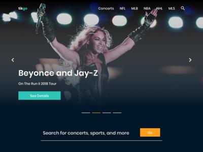 TikGo - an online ticketing website homepage ticket layout design website events