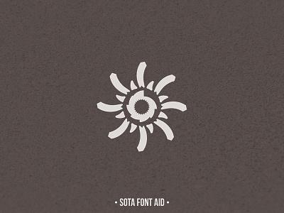 SOTA Font Aid VII: The Philippines sota font sun help typhoon aid logo ray light beam twirl