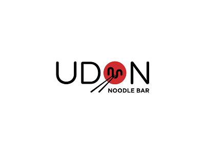 Udon c2 chopsticks bowl logo dipe modern red asia restaurant food japan noodle