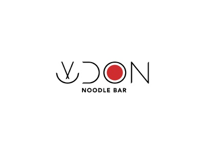 Udon c3 chopsticks bowl logo dipe modern red asia restaurant food japan noodle
