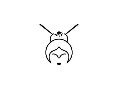 Chinese Basket chinese restaurant logo dipe simple line face woman dim sum food china girl