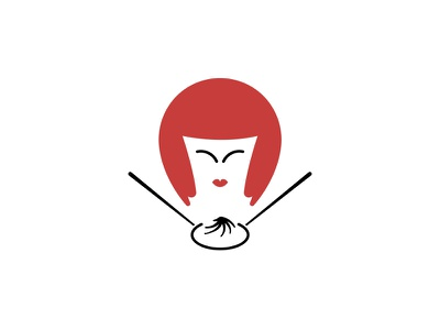 Chinese Basket alt woman simple restaurant logo noodle girl food face dipe chinese china