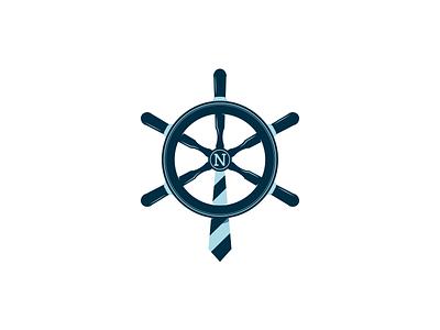 Navigate control logo dipe aqua boat water steering wheel navigation business tie sea