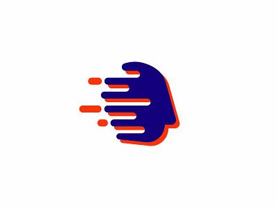 Auxilio alt liquid drip head morph flat mental speed mind logo face