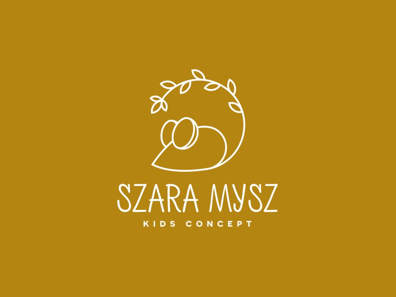 Szara Mysz Kids Concept dipe logo geometric store kids line art simple leaf animal mouse
