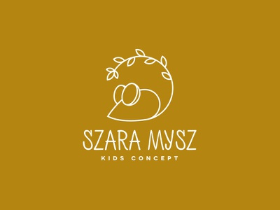 Szara Mysz Kids Concept dipe logo geometric store kids line art simple leaf animal mouse
