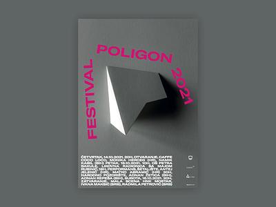 Poligon 6 Poster type typography magenta gtamerica origami paper festival literature poster design graphic design