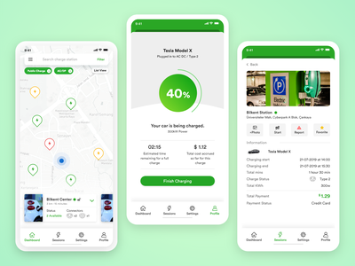 Electric Car Charger App design app mobile ui ux online electric car charger