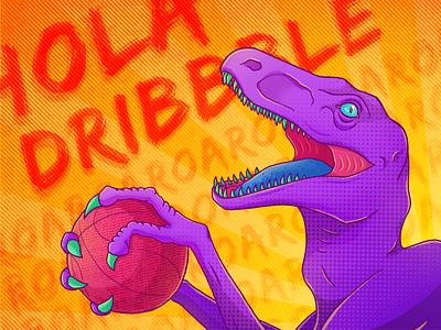 Hola Dribbble hello dribbble 2d drawing raptor dinosaur cellshading illustration