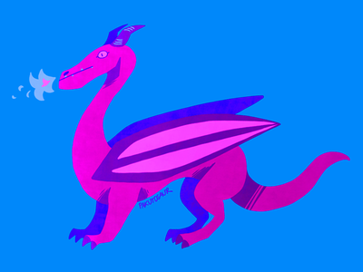 Pink Dragon flashy cartoon flat illustration